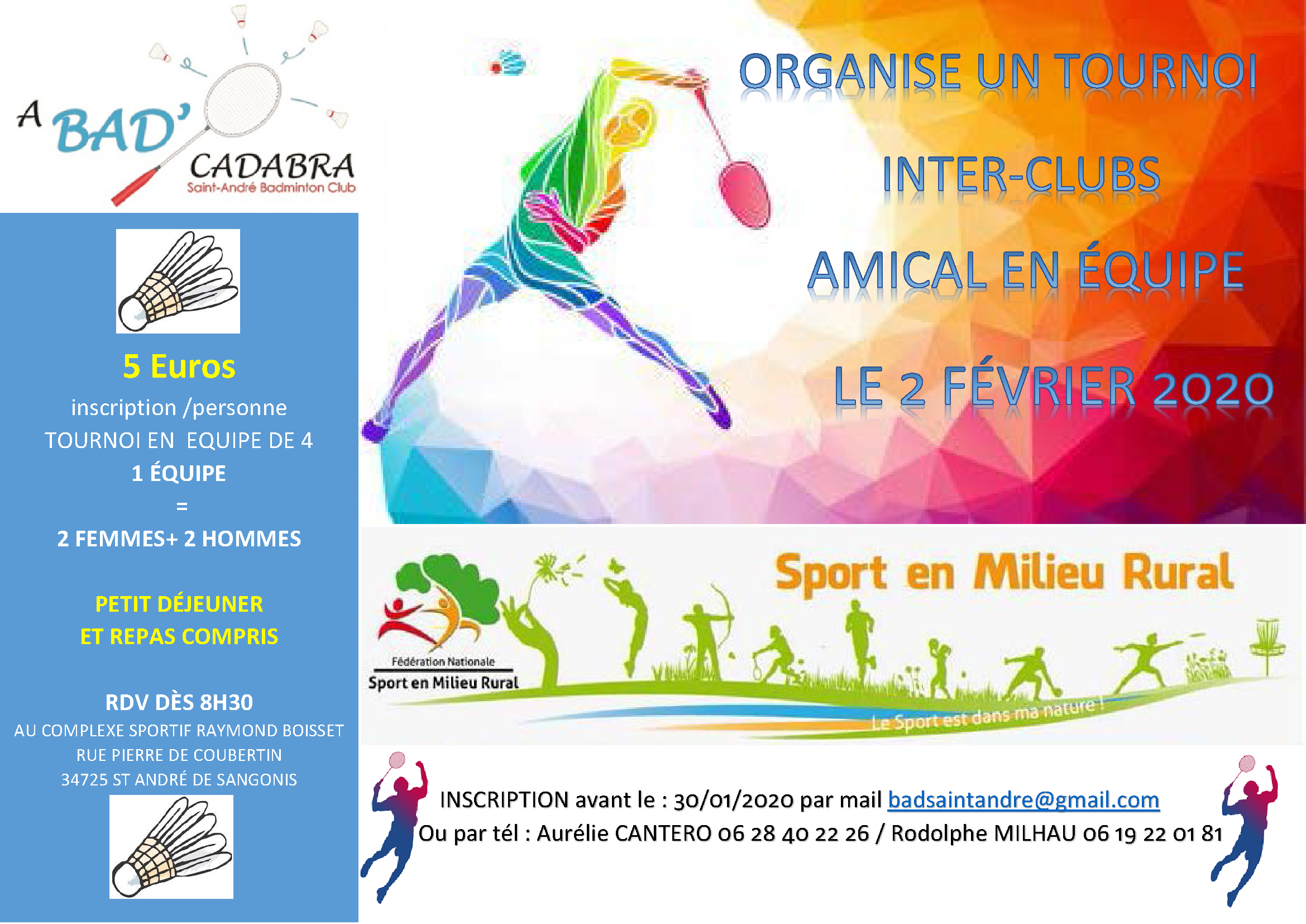 Rencontre amicale Badminton @ COMPLEXE SPORTIF RAYMOND BOISSET