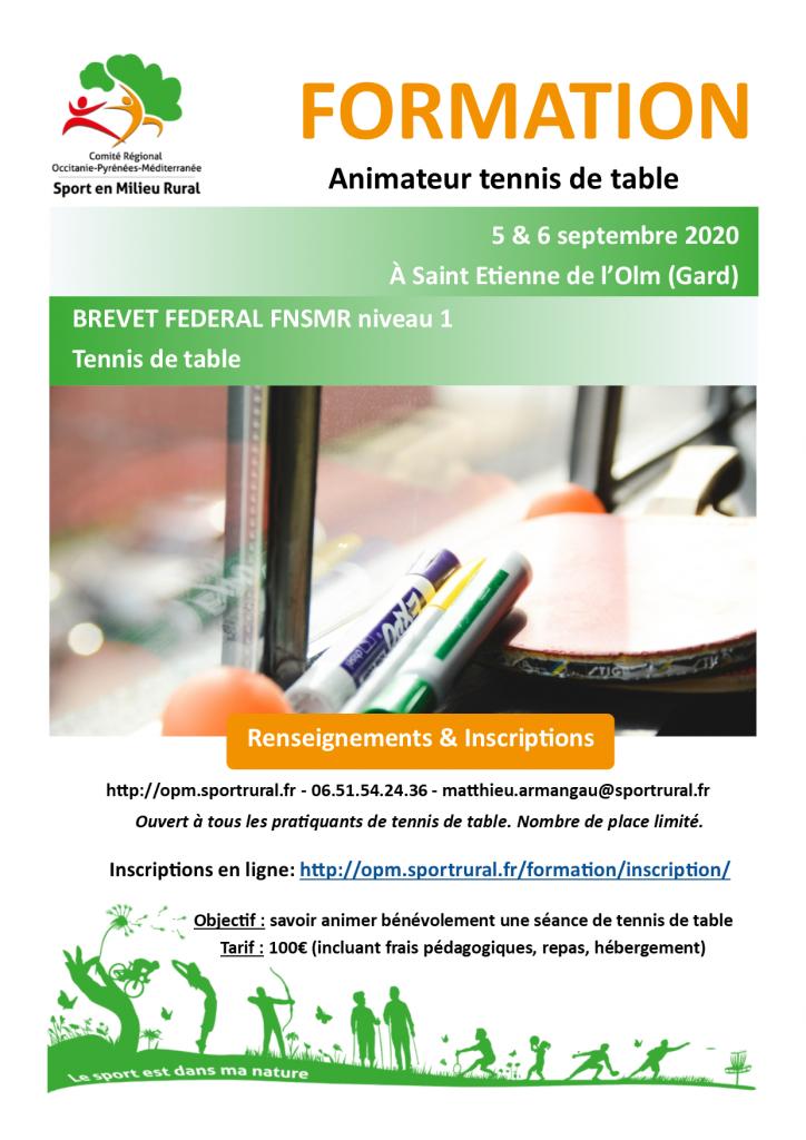 Formation BF1 Tennis de Table @ St Etienne de L'olm